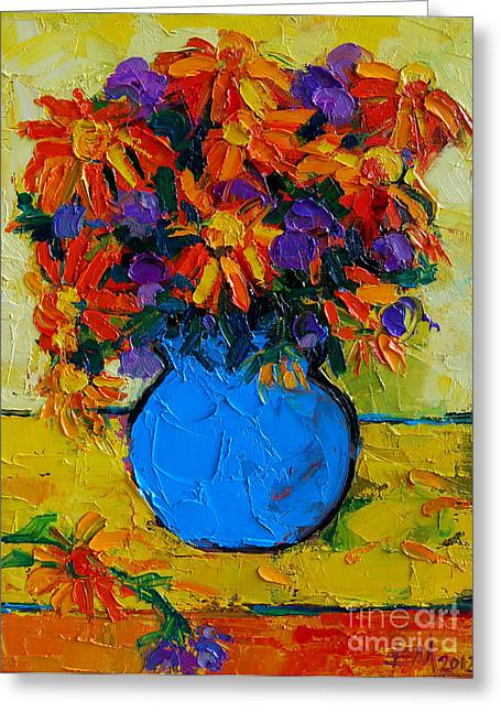 Background Paintings Greeting Cards - Autumn Flowers Greeting Card by Mona Edulesco