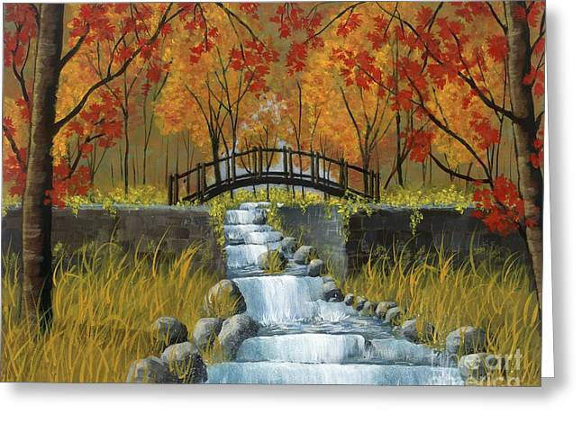 Living Water Greeting Cards - Autumn Flowing Greeting Card by Lori  Morris