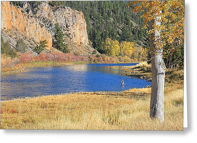 Flyfish Greeting Cards - Autumn Fly Fishing Big Hole River Montana Greeting Card by Jennie Marie Schell