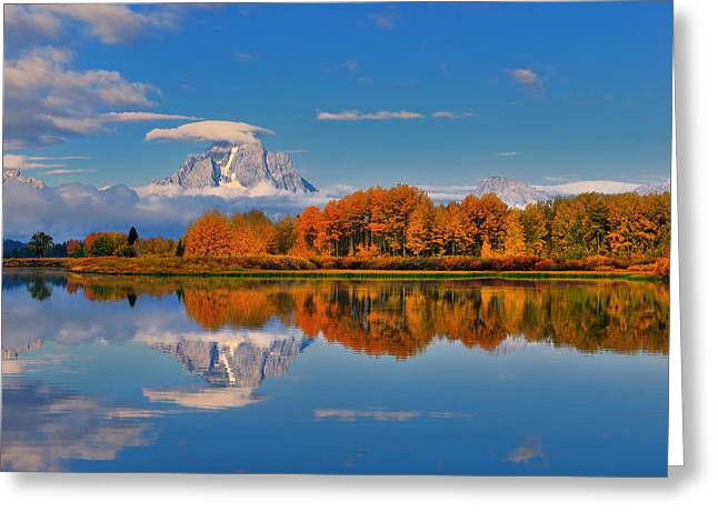 Tetons Greeting Cards - Autumn Foliage at the Oxbow Greeting Card by Greg Norrell