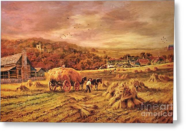 Haying Greeting Cards - Autumn Folk Art - Haying Time Greeting Card by Lianne Schneider