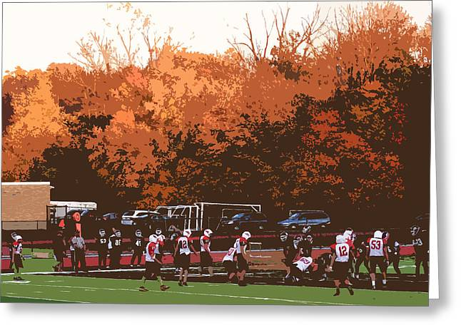 Small Towns Mixed Media Greeting Cards - Autumn Football with Cutout Effect Greeting Card by Frank Romeo