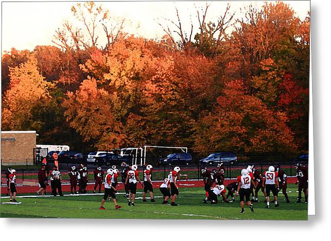Small Towns Mixed Media Greeting Cards - Autumn Football with Dry Brush Effect Greeting Card by Frank Romeo