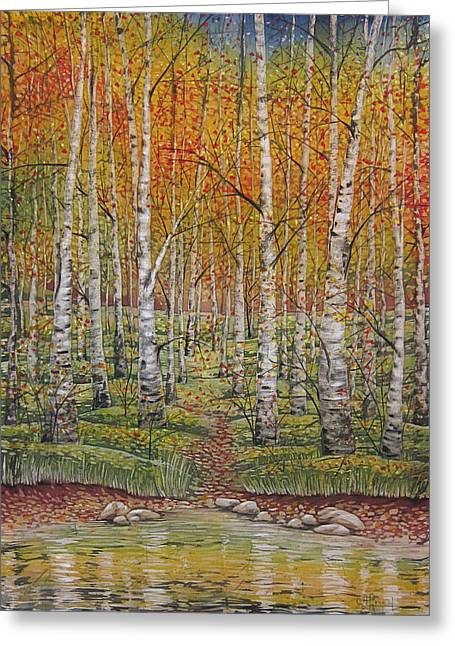 Reflecting Water Tapestries - Textiles Greeting Cards - Autumn Forest Greeting Card by Alena Priest