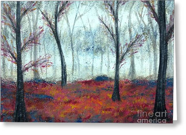 Wax Mixed Media Greeting Cards - Autumn Forest Greeting Card by Emily Young
