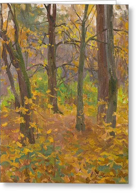 Autumn Landscape Paintings Greeting Cards - Autumn forest Greeting Card by Victoria Kharchenko