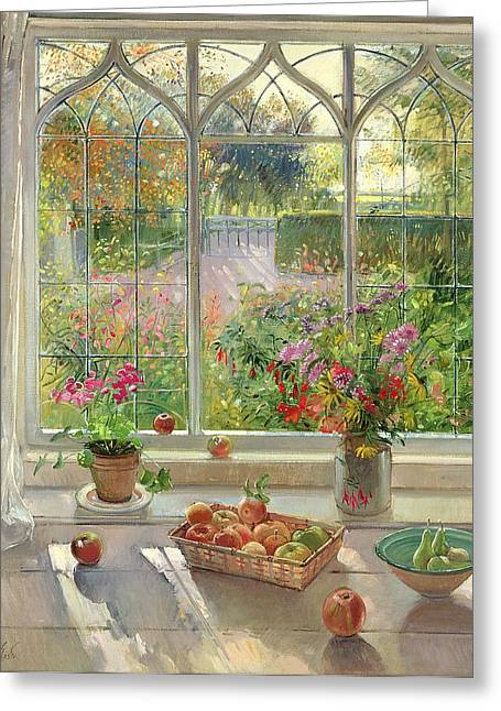 Ledge Photographs Greeting Cards - Autumn Fruit And Flowers, 2001 Oil On Canvas Greeting Card by Timothy Easton