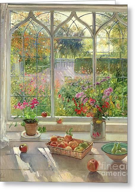 Window Frame Greeting Cards - Autumn Fruit and Flowers Greeting Card by Timothy  Easton