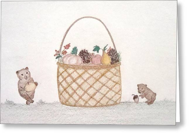 Basket Pastels Greeting Cards - Autumn Fruit Basket and Bears Greeting Card by Christine Corretti