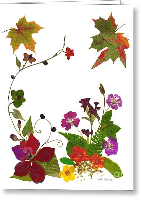 Red Geraniums Mixed Media Greeting Cards - Autumn Garden Greeting Card by Kathie McCurdy