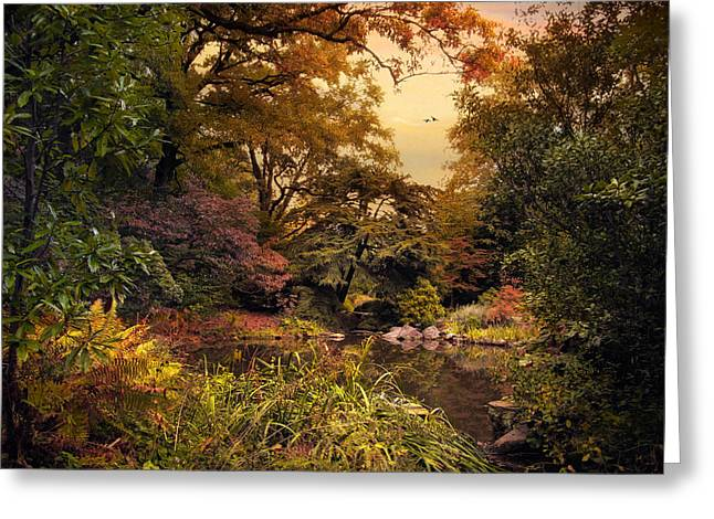 Fall Trees Greeting Cards - Autumn Garden Sunset Greeting Card by Jessica Jenney