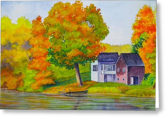 Boats In Reflecting Water Paintings Greeting Cards - Autumn Glory Greeting Card by Cynthia Stewart