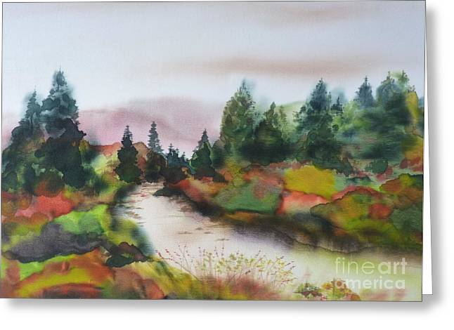 Stream Tapestries - Textiles Greeting Cards - Autumn Glory Greeting Card by Hazel Millington