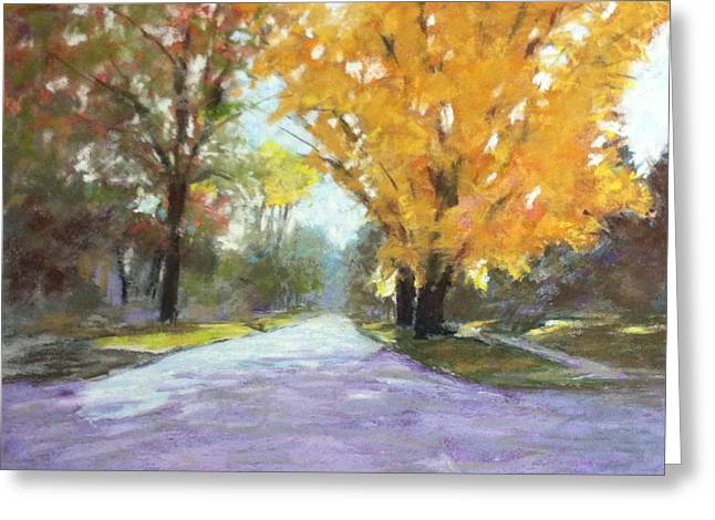 Small Towns Pastels Greeting Cards - Autumn Glory Greeting Card by Julie Mayser