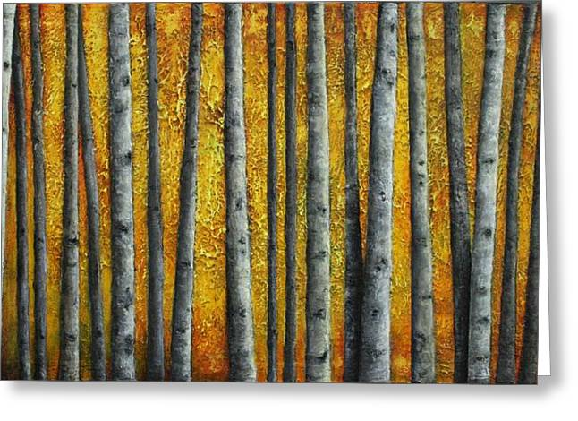 Orange Reliefs Greeting Cards - Autumn Glow Greeting Card by Linda Carmel