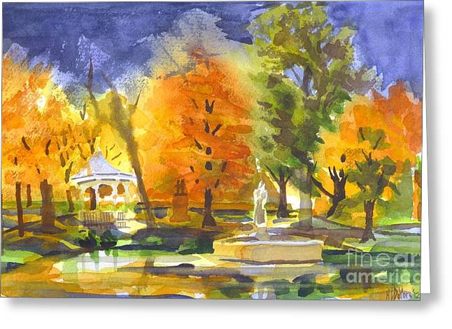 Reflection On Pond Greeting Cards - Autumn Gold Greeting Card by Kip DeVore