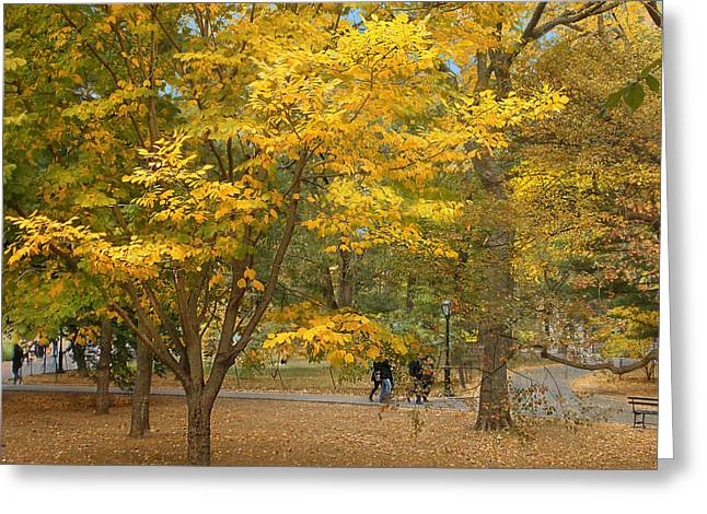 Stroll In The Park Greeting Cards - Autumn Gold Greeting Card by Muriel Levison Goodwin