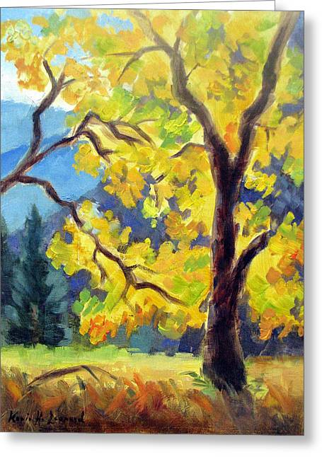 Half Dome Paintings Greeting Cards - Autumn Gold Yosemite Valley Greeting Card by Karin  Leonard