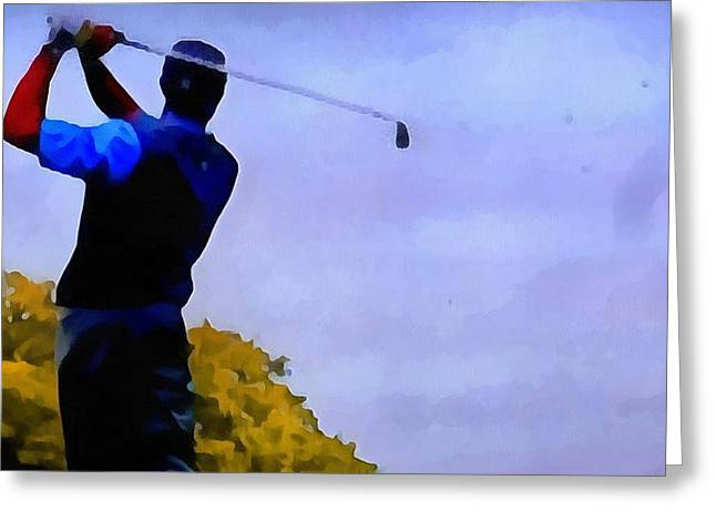 Professional Golf Greeting Cards - Autumn Golf Swing Greeting Card by Dan Sproul