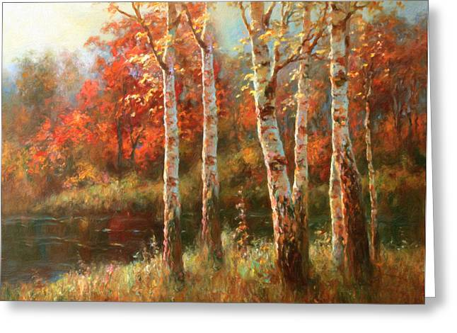 Autumn Prints Greeting Cards - Autumn Grace Greeting Card by Georgiana Romanovna