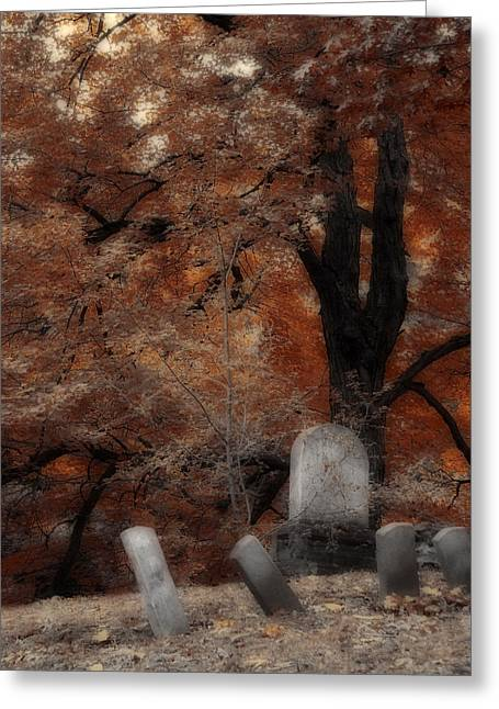 Autumn Graveyard Greeting Card by Gothicolors Donna Snyder