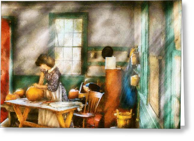 Apron Greeting Cards - Autumn - Halloween - Carving a pumpkin Greeting Card by Mike Savad