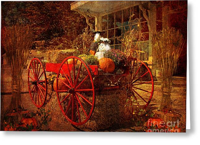 Seasonal Prints Rural Prints Greeting Cards - Autumn Harvest at Brewster General Greeting Card by Lianne Schneider