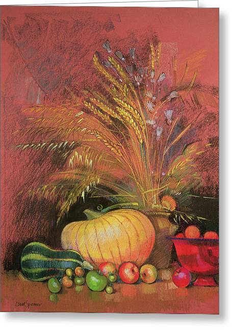 Nutrient Greeting Cards - Autumn Harvest Greeting Card by Claire Spencer