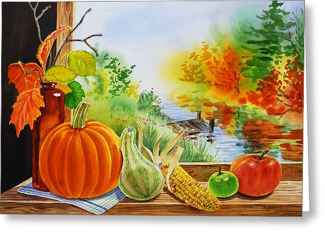 Table Greeting Cards - Autumn Harvest Fall Delight Greeting Card by Irina Sztukowski
