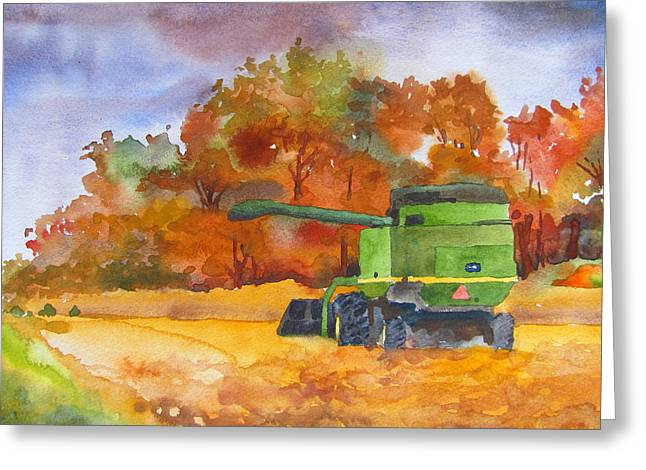 Indiana Autumn Paintings Greeting Cards - Autumn Harvest Greeting Card by James Huntley
