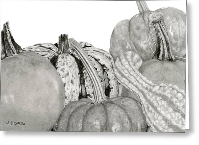 Fall Photos Drawings Greeting Cards - Autumn Harvest On White Greeting Card by Sarah Batalka