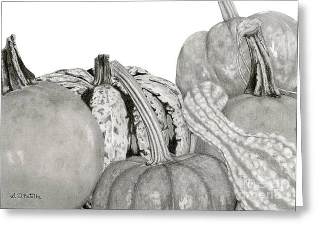 Autumn Harvest On White Greeting Card by Sarah Batalka