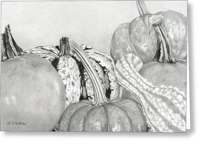 Hand Drawn Greeting Cards - Autumn Harvest Greeting Card by Sarah Batalka