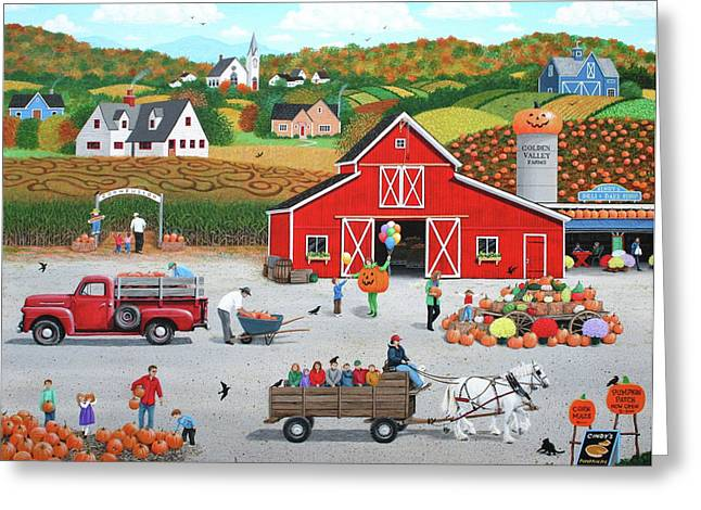 Hayride Greeting Cards - Autumn Harvest Greeting Card by Wilfrido Limvalencia