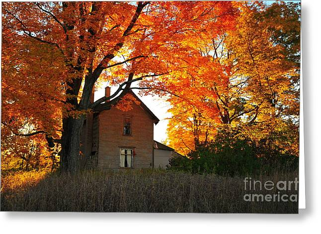 Michigan Farmhouse Greeting Cards - Autumn Haunt Greeting Card by Terri Gostola
