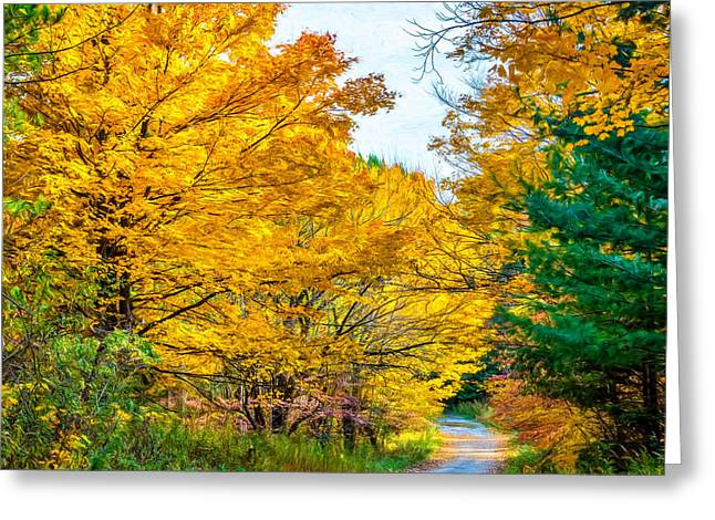 Puddle Paint Greeting Cards - Autumn Hike - Paint Greeting Card by Steve Harrington