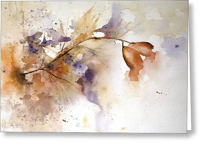 Wet In Wet Watercolor Greeting Cards - Autumn Hips Greeting Card by Lynne Furrer