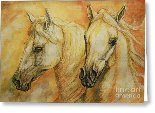 Autumn Horses Greeting Card by Silvana Gabudean