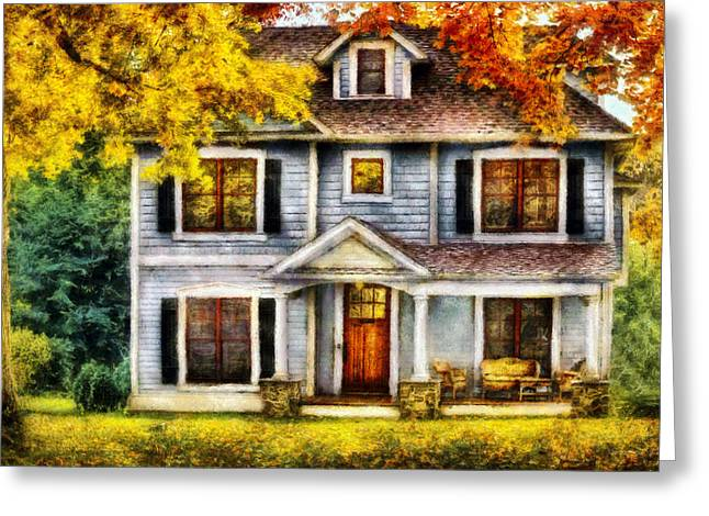 Suburbia Greeting Cards - Autumn - House - Cottage  Greeting Card by Mike Savad