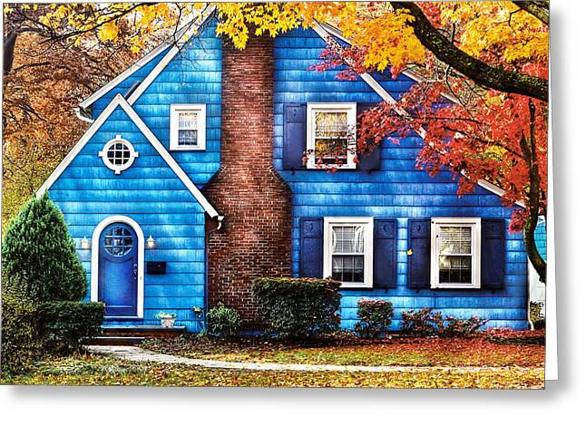Suburbia Greeting Cards - Autumn - House - Little Dream House  Greeting Card by Mike Savad