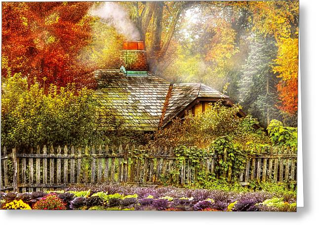 Autumn - House - On the way to grandma's House Greeting Card by Mike Savad