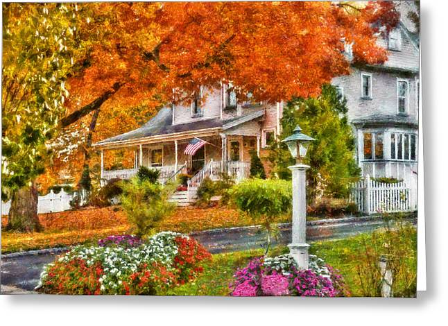 Customizable Greeting Cards - Autumn - House - The Beauty of Autumn Greeting Card by Mike Savad