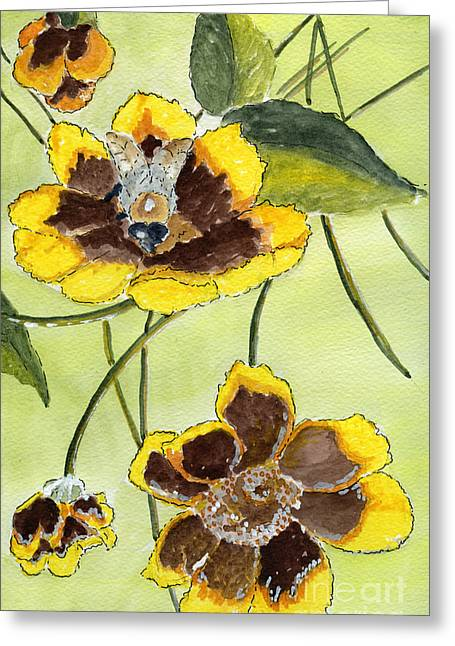 Bees Drawings Greeting Cards - Autumn II Greeting Card by Eva Ason