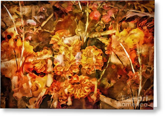 Nature Abstract Mixed Media Greeting Cards - Autumn Impression Abstract Greeting Card by Lutz Baar
