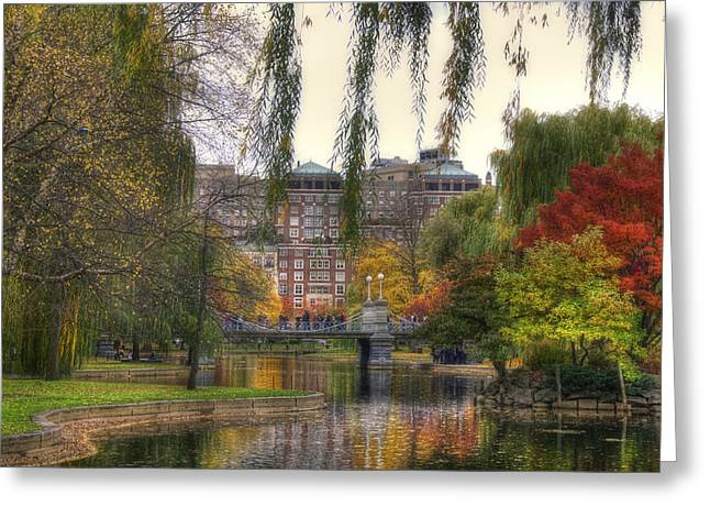 Recently Sold -  - Pond In Park Greeting Cards - Autumn in Boston Garden Greeting Card by Joann Vitali