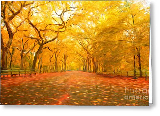 Harmonious Paintings Greeting Cards - Autumn in Central Park Greeting Card by Veikko Suikkanen