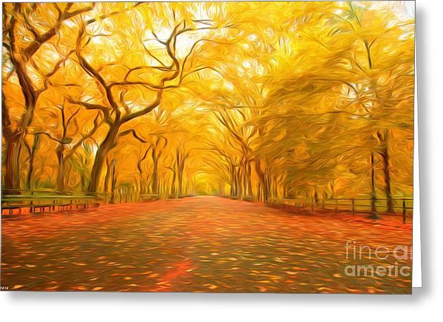 Autumn In Central Park Greeting Card by Veikko Suikkanen