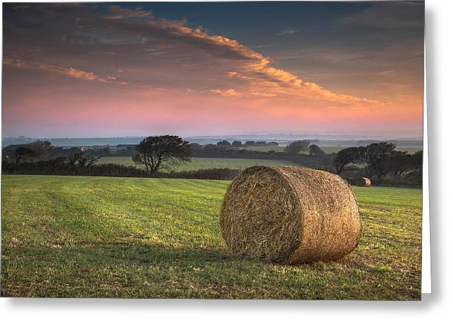 Hay Bales Greeting Cards - Autumn in Cornwall Greeting Card by Christine Smart
