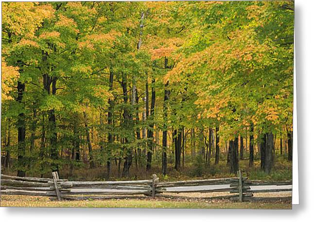Fence Line Greeting Cards - Autumn in Door County Greeting Card by Adam Romanowicz