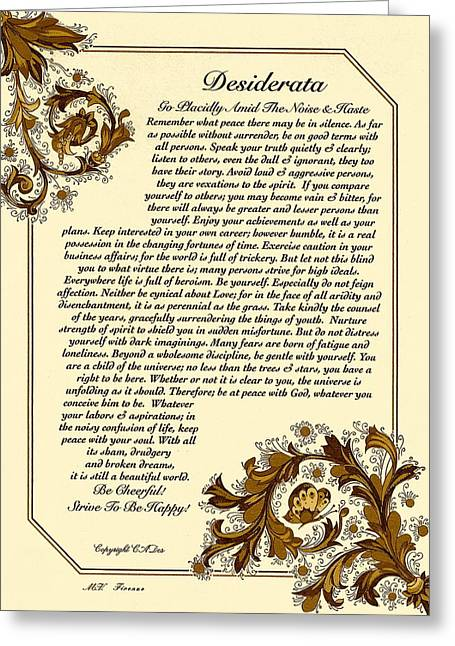 Motivational Poster Drawings Greeting Cards - Autumn in Florence Desiderata Poster Greeting Card by Desiderata Gallery